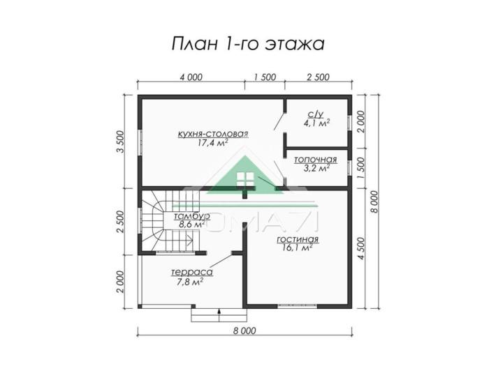 Каркасный дом 8x8 план 1 этажа