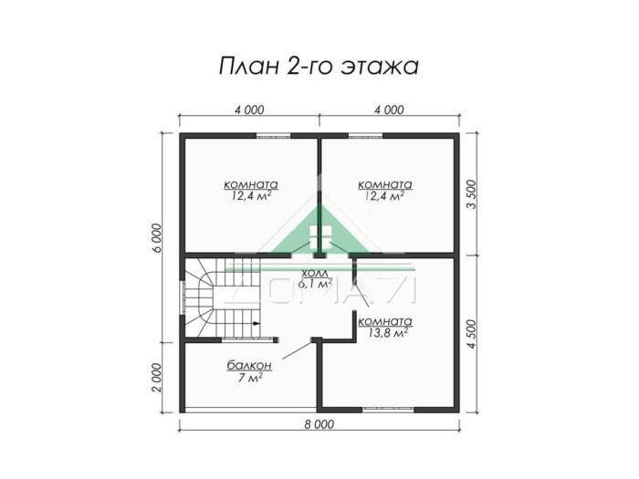 Каркасный дом 8x8 план 2 этажа