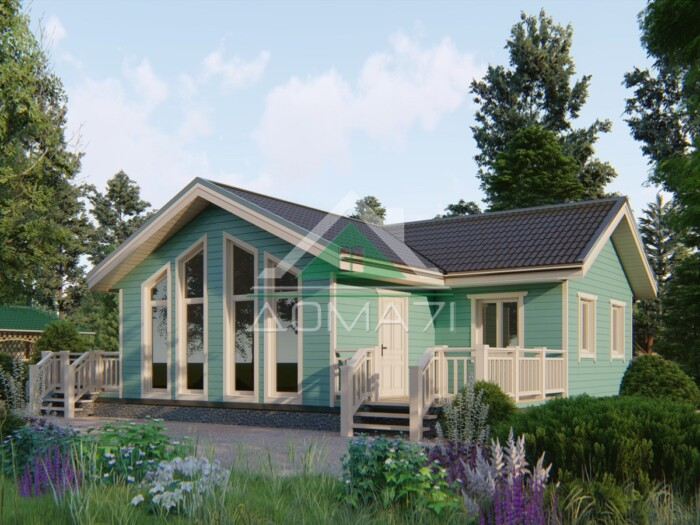 Каркасный одноэтажный дом 12x9 в Туле проект