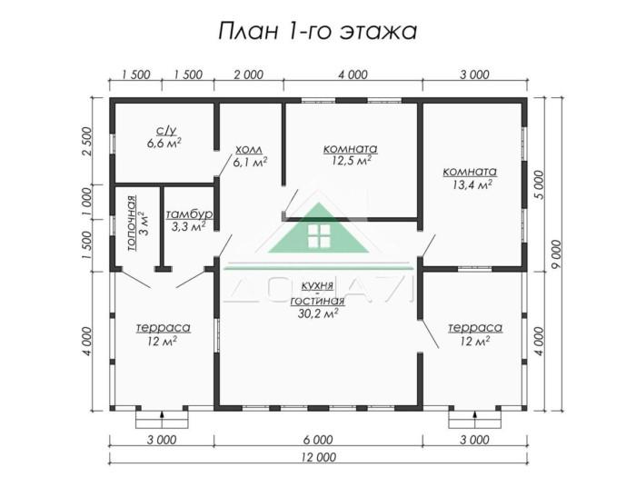 Каркасный одноэтажный дом 12x9 планировка
