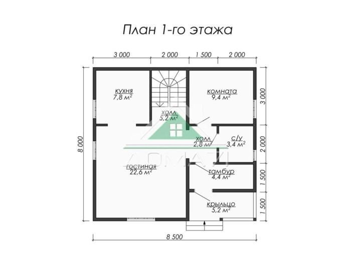 8.5x8 каркасный дом план 1 этажа