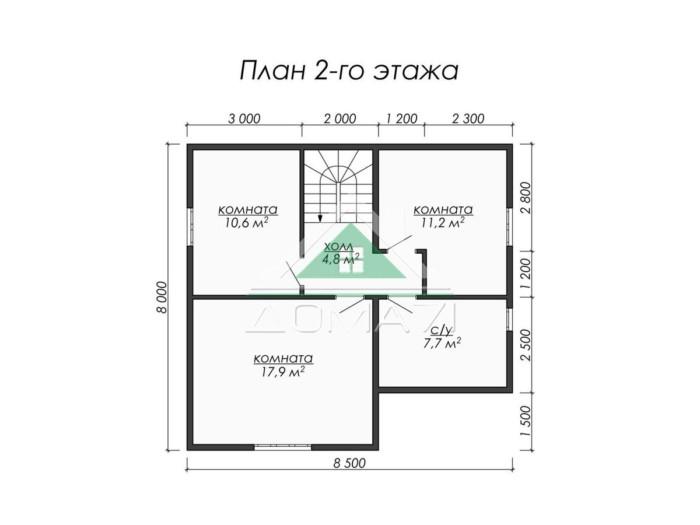 8.5x8 каркасный дом план 2 этажа