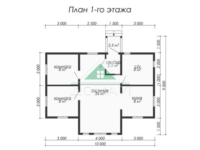 Каркасный одноэтажный дом 10x7.5 планировка