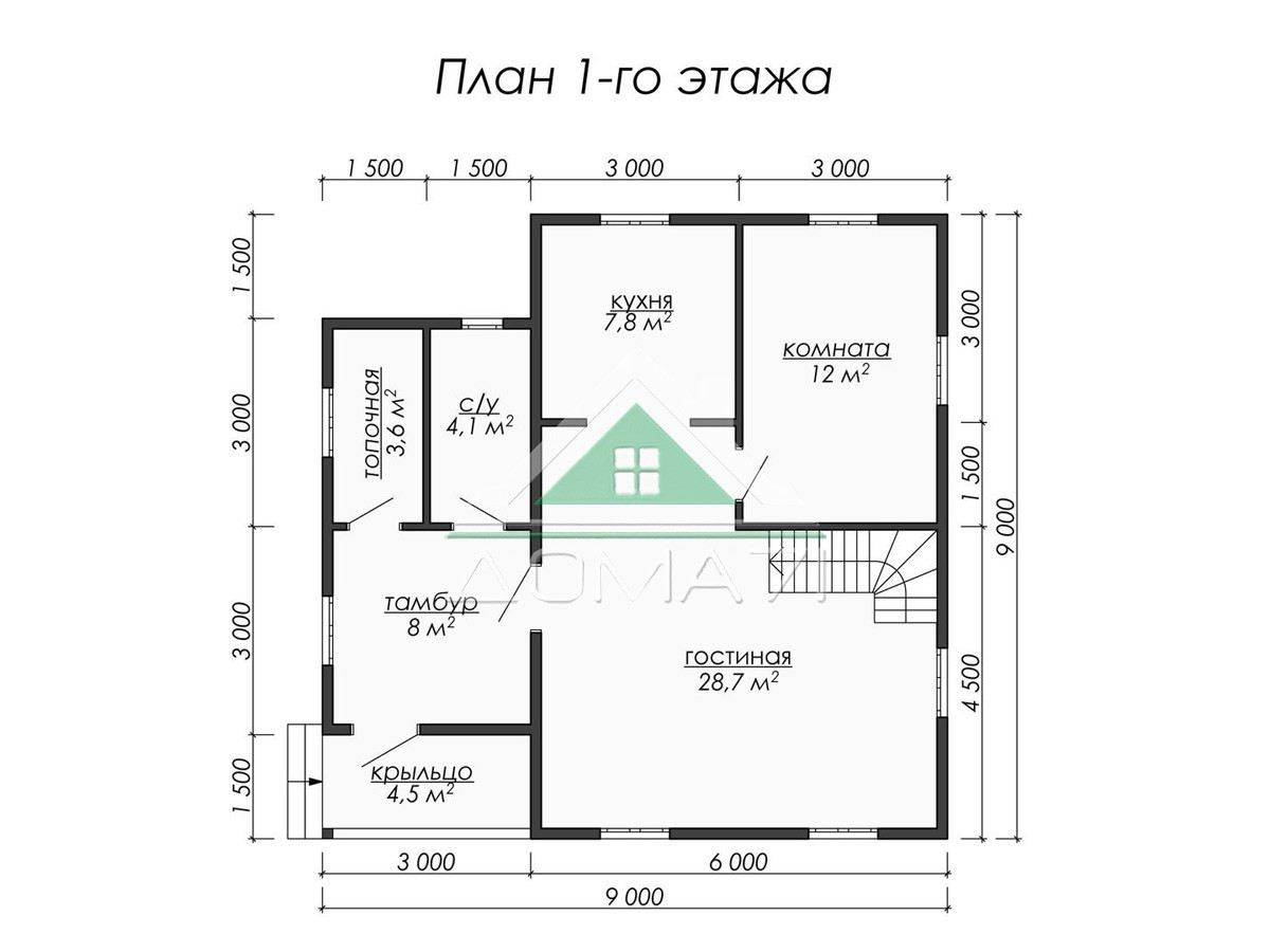 Каркасный дом 9x9 план 1 этажа