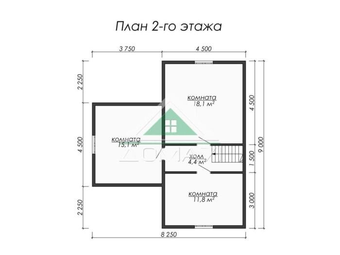 Каркасный дом 9x9 план 2 этажа