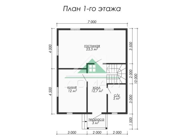Каркасный дом 8.5x7 план 1 этажа