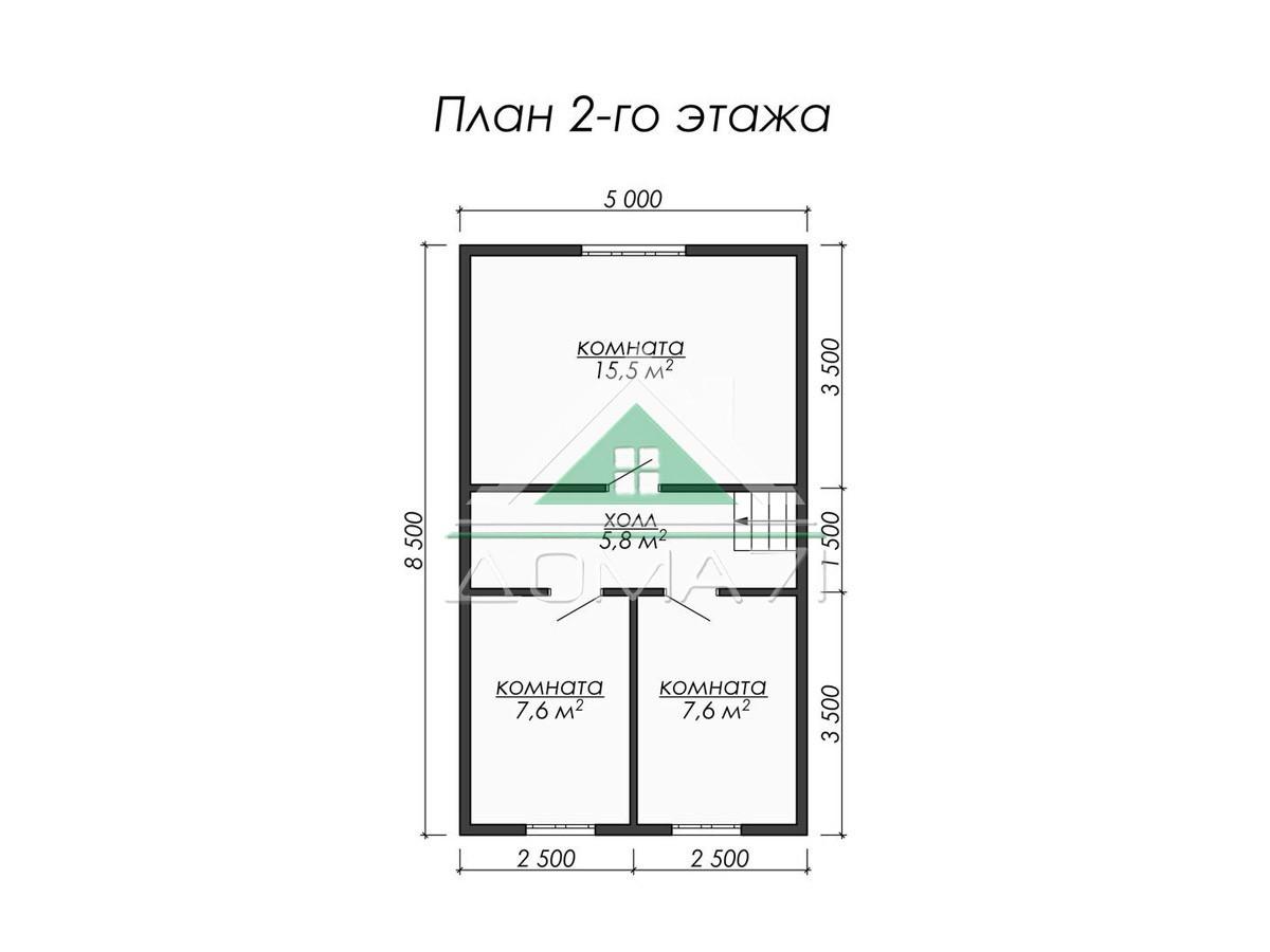 Каркасный дом 8.5x7 план 2 этажа