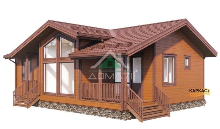 Одноэтажный каркасный дом со вторым светом и панорамными окнами