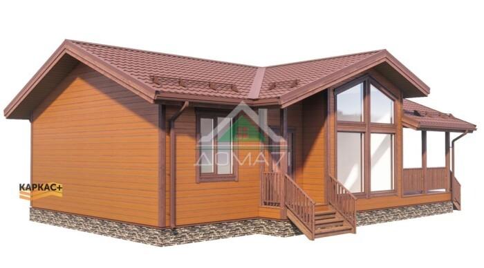 Одноэтажный каркасный дом со вторым светом