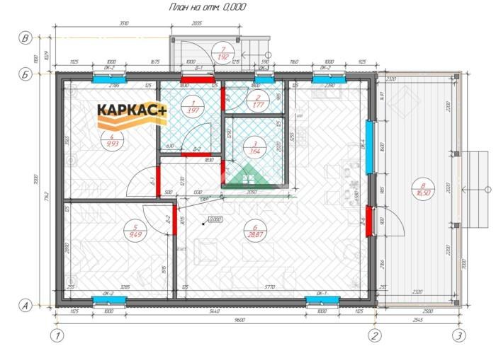 Каркасный дом 12х8 планировка