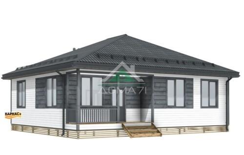 Одноэтажный Каркасный дом10,3х11,8 из доски камерной сушки