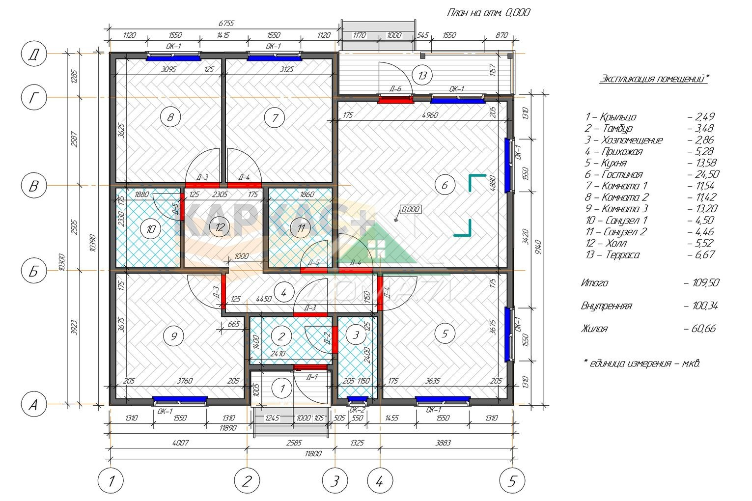 Каркасный дом 10х11 планировка
