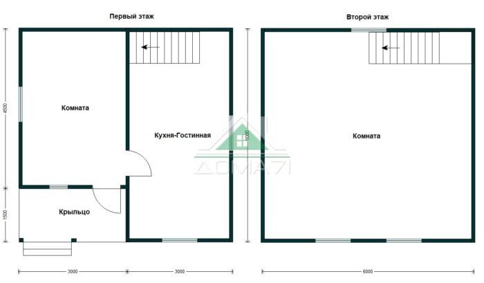 Планировка дом полтора этажа 6х6