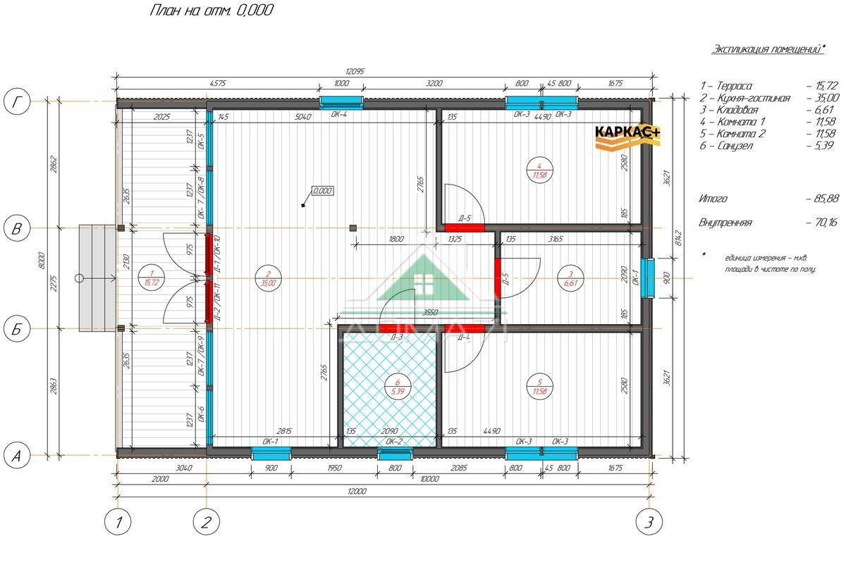 Каркасный дом 8х12 в один этаж планировка