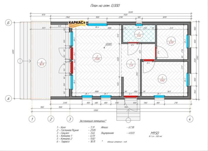 Барнхаус 6х12 планировка