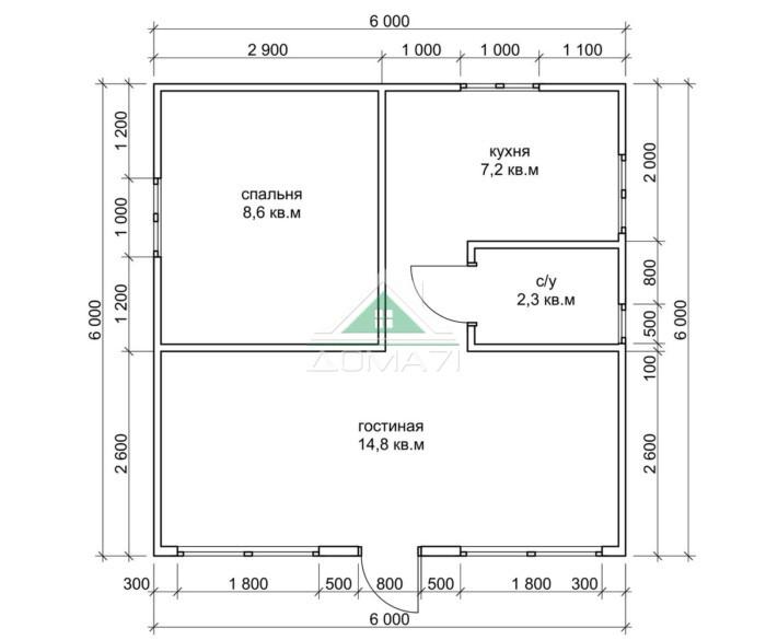Садовый дачный дом 6х6 план помещений