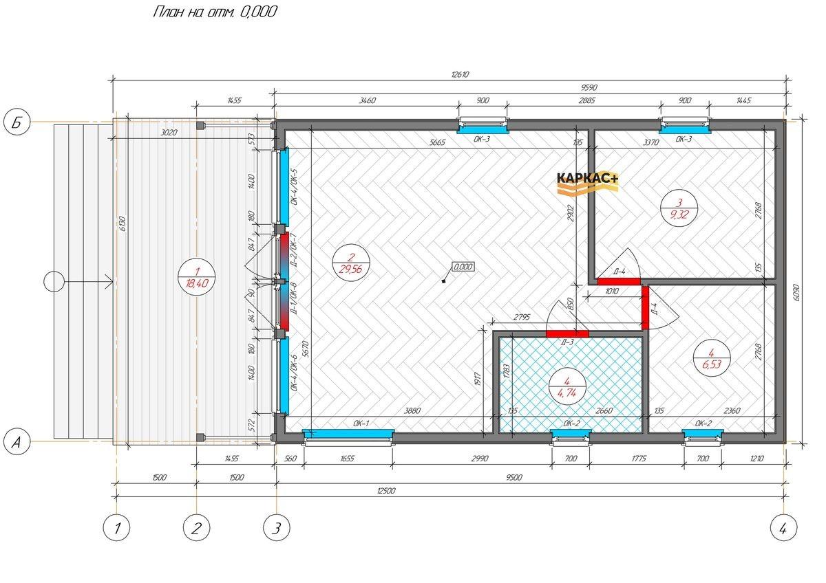 Каркасный дом 6х12,5 планировка