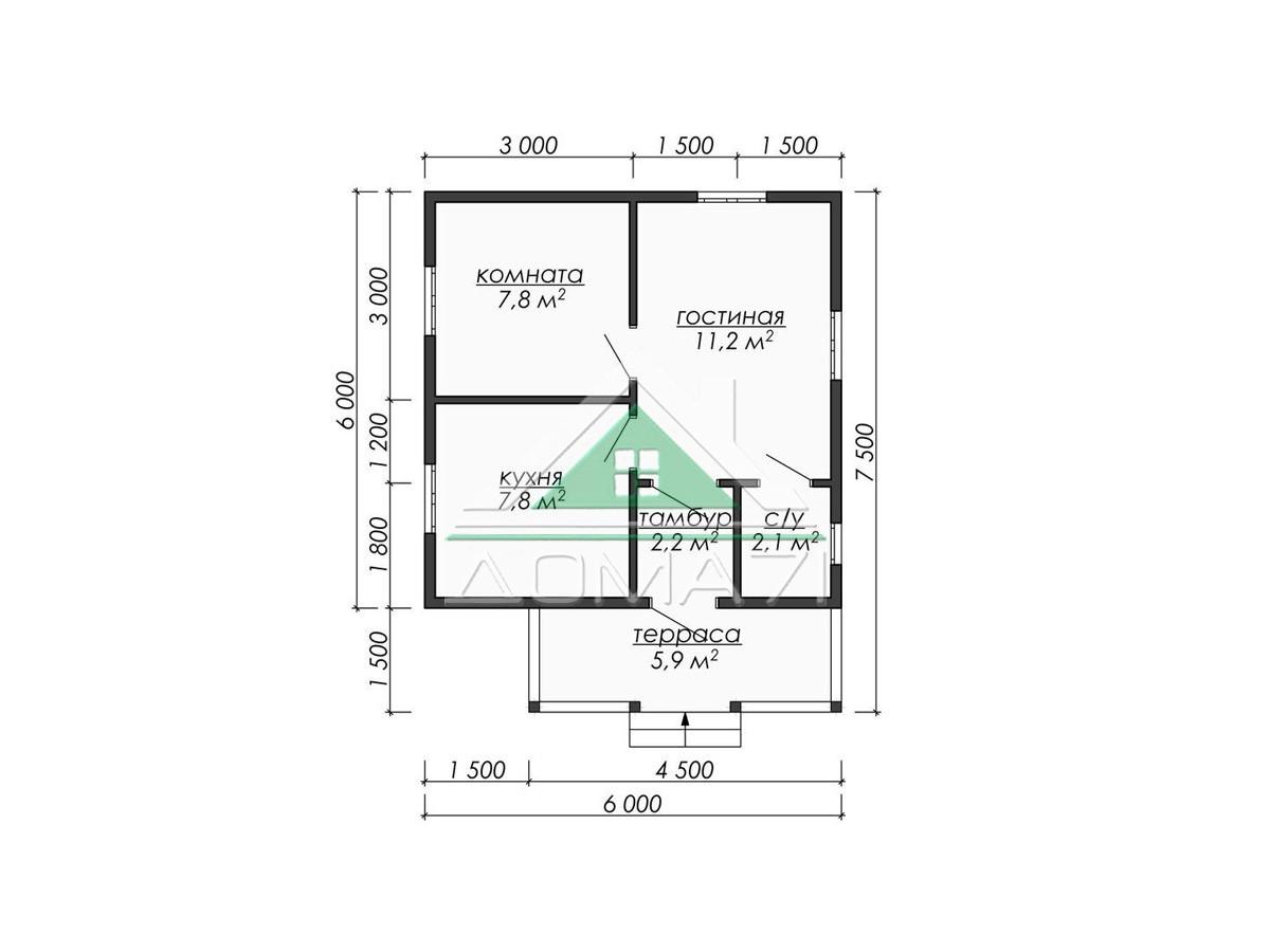 Проект дом 6х6 каркасный один этаж