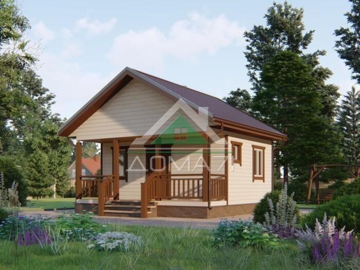 Дачный дом 6 на 6 каркасный проект с террасой