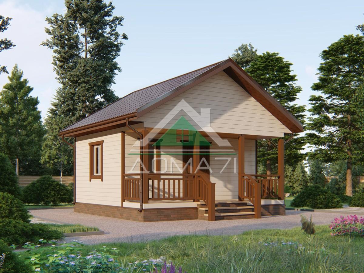 Дачный домик 6 на 6 проект под ключ с террасой