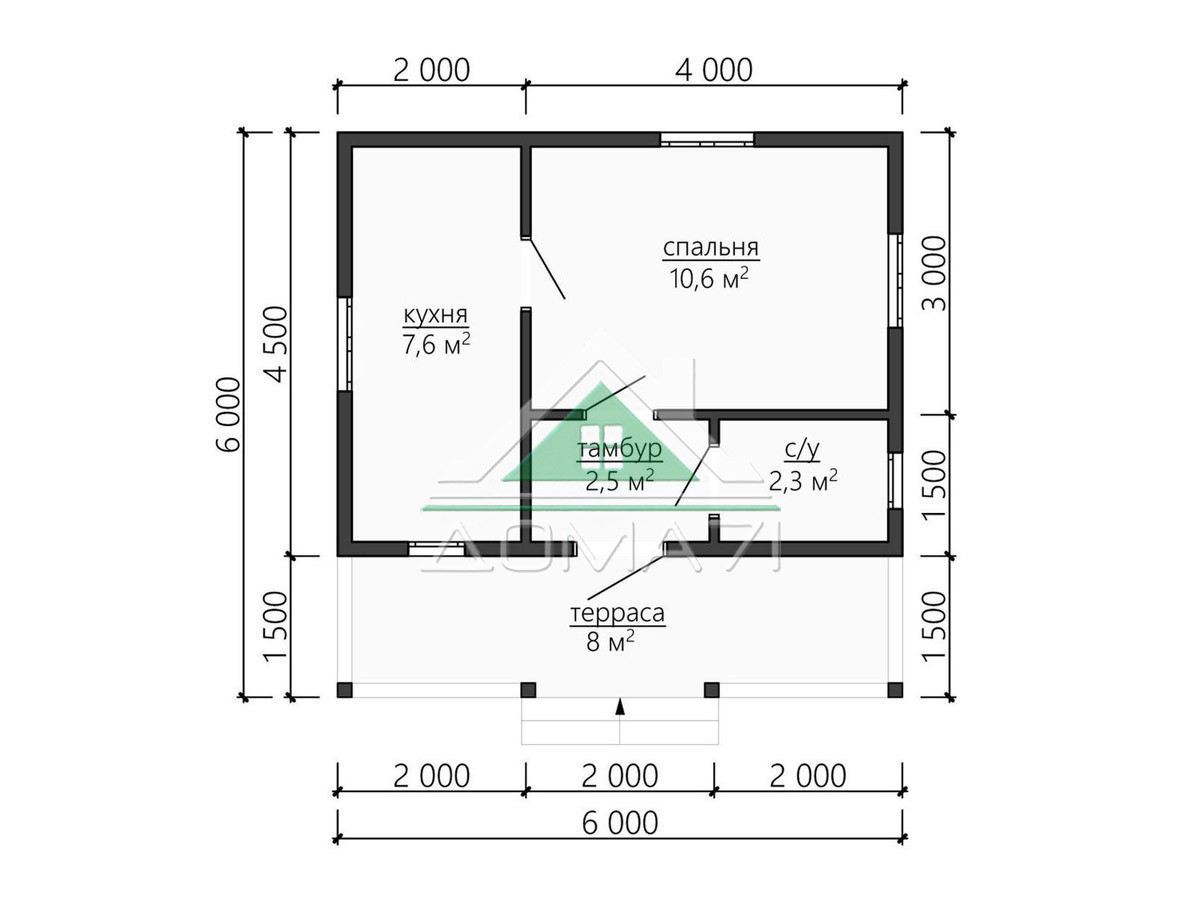 Дачный домик 6 на 6 проект под ключ планировка