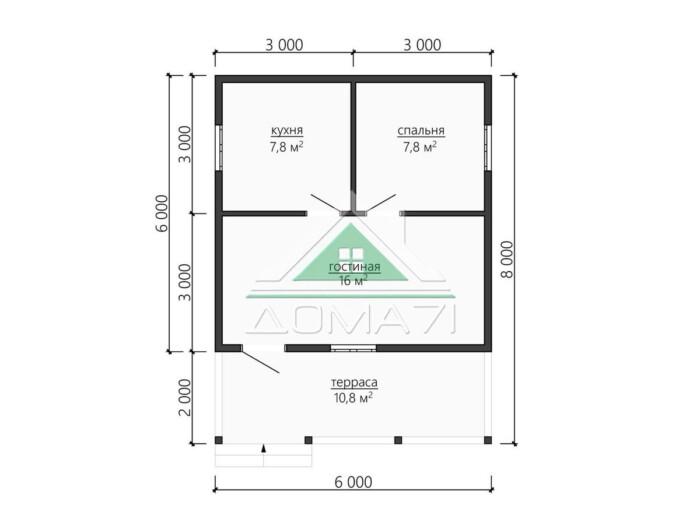 Каркасный дом 6х8 одноэтажный с террасой