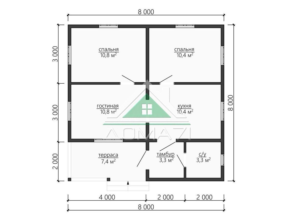 Проект каркасный дом 8х8 одноэтажный