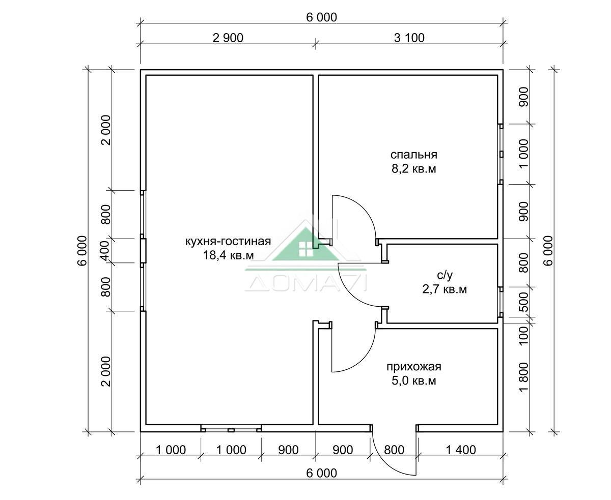 Садовый дачный дом 6х6 эконом в Туле проект