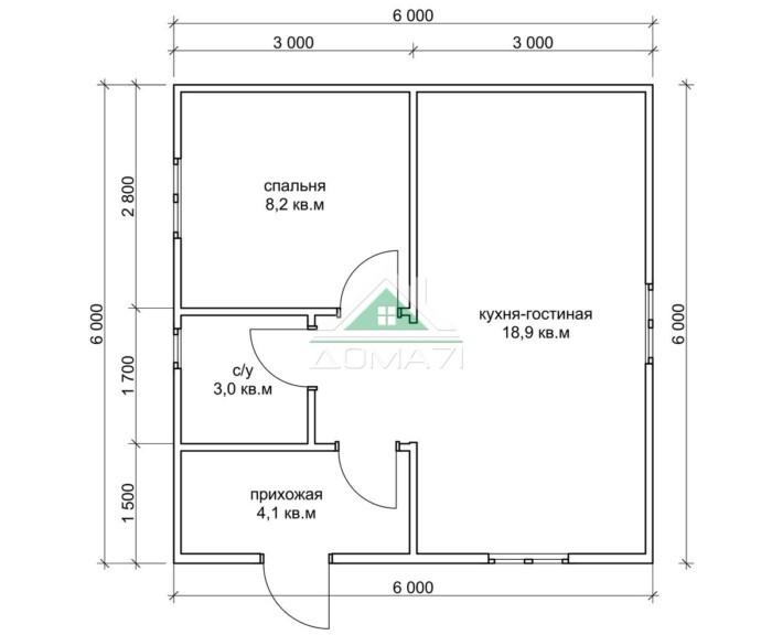 Садовый домик 6х6 план в один этаж